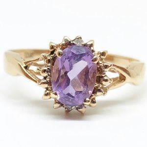 10k Yellow Gold Genuine Amethyst & Diamond Ring
